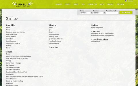 Screenshot of Site Map Page hotelpumilio.com - Site map - Hotel Pumilio - Jacó - Costa Rica - Boutique Hotel - Leap into Happiness - captured Oct. 2, 2014