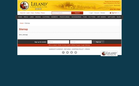 Screenshot of Site Map Page lelandfly.com - Sitemap - In Stock, Ready to Fish - Leland Fly Fishing Outfitters - captured Aug. 28, 2016