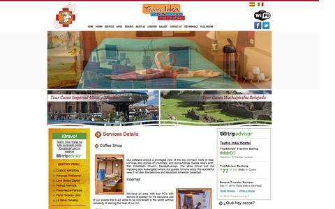 Screenshot of Services Page teatroinka.com - Hoteles Hostales alojamiento posadas habitaciones precios servicios Cusco descuentos - captured Oct. 7, 2014