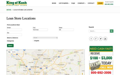 Screenshot of Locations Page kingofkash.com - Loan Store Locations - captured Nov. 27, 2016