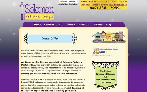 Screenshot of Terms Page solomonpediatricdental.com - Solomon Pediatric Dental | Glendale Pediatric Dentist | Terms - captured Oct. 26, 2014