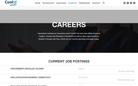 Screenshot of Jobs Page coolitsystems.com - Careers at CoolIT Systems - Join Our Growing Team - captured Sept. 29, 2018
