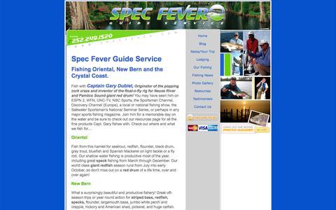 Screenshot of Home Page specfever.com - Salt Water Fly Fishing Guide North Carolina - captured Oct. 7, 2014