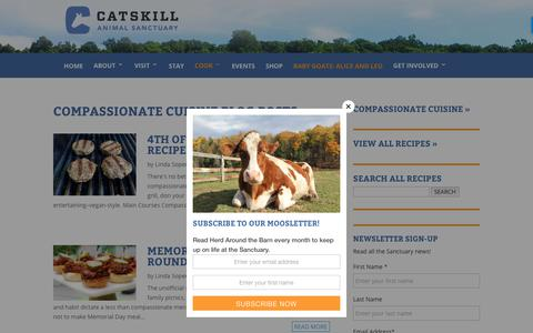 Screenshot of Blog casanctuary.org - Compassionate Cuisine Blog Posts | Catskill Animal Sanctuary - captured Sept. 27, 2018