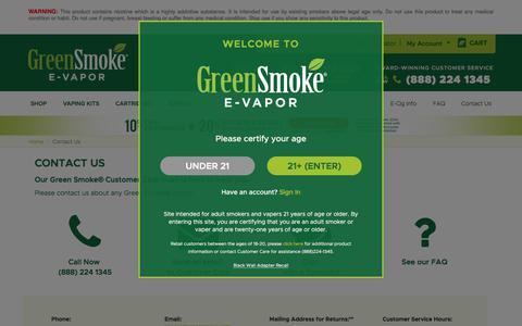 Screenshot of Contact Page greensmoke.com - Contact Us    Green Smoke® E-Vapor - captured June 21, 2017