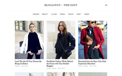 Screenshot of Blog bloglovin.com - Bloglovin'—the Edit - captured Feb. 2, 2016