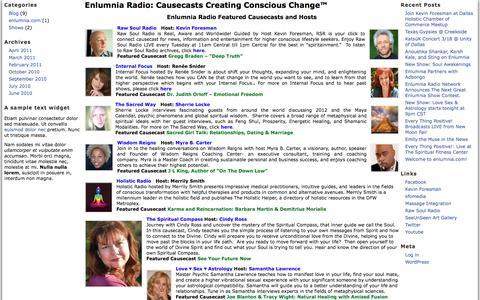 Screenshot of Home Page enlumnia.com - Enlumnia Radio: Giving A Voice To Your Cause™ - Causecasts Creating Positive Change for Our Planet™ - Talk, Music, News - captured Aug. 9, 2017