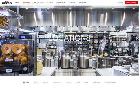 Screenshot of Locations Page cafezupas.com - Café Zupas | Locations - captured Sept. 12, 2018