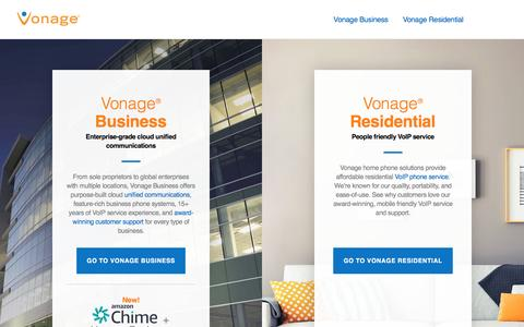 Screenshot of Home Page vonage.com - VoIP Service & Cloud Unified Communications | Vonage - captured April 8, 2017