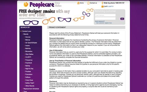Screenshot of Privacy Page peoplecareeyes.com.au - Peoplecare - Privacy - captured March 3, 2016