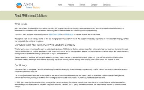 Screenshot of About Page amh.com - About AMH Internet Solutions - captured Oct. 4, 2014