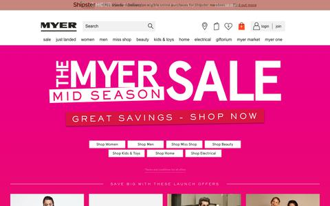 Screenshot of Home Page myer.com.au - Myer Online - Myer Online - Shop Fashion, Homewares, Beauty, Toys & More - captured March 25, 2018