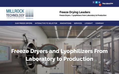 Screenshot of Home Page millrocktech.com - Freeze Dryer Lab to Production / Lyophilizer | Millrock Technology - captured Oct. 19, 2018