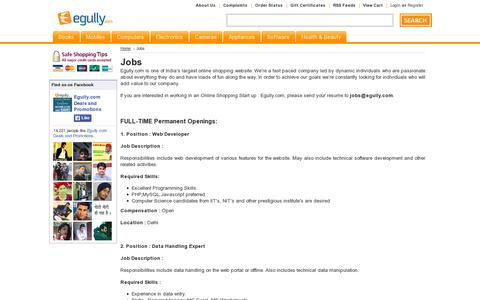 Screenshot of Jobs Page egully.com - Jobs at Egully.com - captured July 19, 2014
