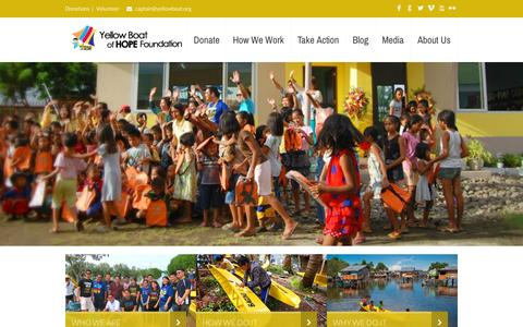 Screenshot of Home Page yellowboat.org - Yellow Boat of Hope Foundation Philippines - captured Oct. 8, 2015