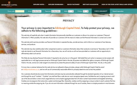 Screenshot of Privacy Page edinburghcapitalhotel.co.uk - Your privacy is very important to us at Edinburgh Capital Hotel - captured Sept. 29, 2014
