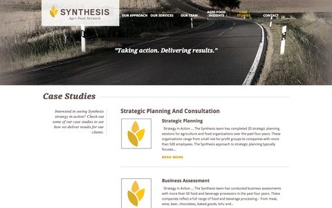 Screenshot of Case Studies Page synthesis-network.com - Case Studies | Synthesis Agri-Food Network - captured Oct. 6, 2014