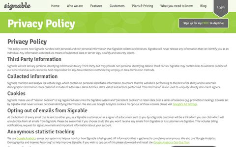 Screenshot of Privacy Page signable.co.uk - Signable Privacy Policy | Your privacy with Signable - captured Jan. 12, 2017