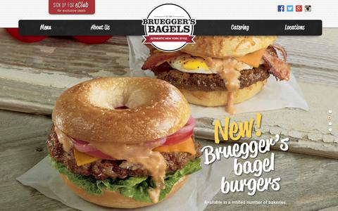Screenshot of Home Page brueggers.com - Authentic New York Style - Bruegger's - captured Sept. 24, 2014