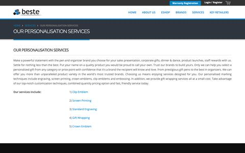 Screenshot of Services Page beste.com.sg - Services -  OUR PERSONALISATION SERVICES - captured Oct. 5, 2018