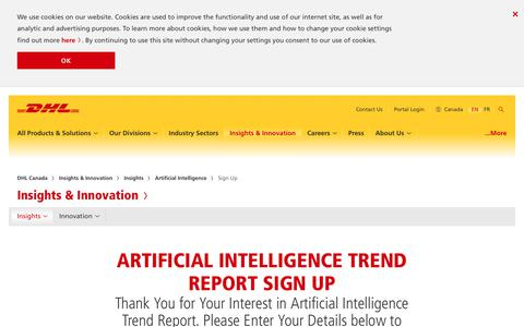 Screenshot of Signup Page logistics.dhl - Sign Up - Artificial Intelligence Trend Report | DHL | Canada - captured Oct. 21, 2018