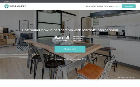 Screenshot of Home Page hostmaker.com - Hostmaker™ - captured April 24, 2018