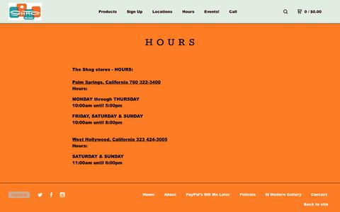 Screenshot of Hours Page bigcartel.com - The Shag stores — Hours - captured July 2, 2018