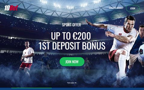 Screenshot of Home Page 10bet.com - 10Bet Online Sports Betting and Casino Games - captured March 10, 2018