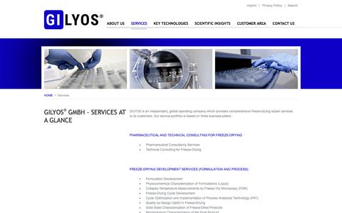Screenshot of Services Page gilyos.com - SERVICES | GILYOS GmbH - Services at a glance - captured Sept. 25, 2018