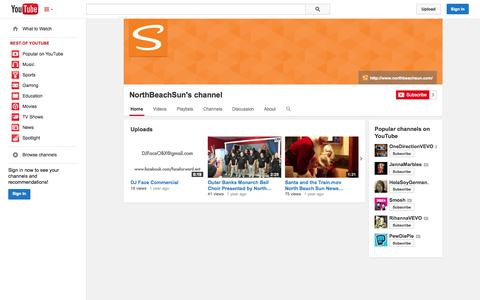 Screenshot of YouTube Page youtube.com - NorthBeachSun's channel  - YouTube - captured Oct. 26, 2014