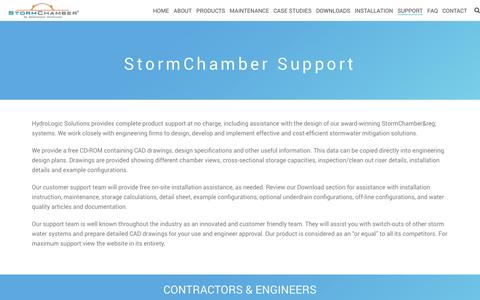 Screenshot of Support Page stormchambers.com - Support | StormChambers - captured Dec. 16, 2016
