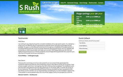 Screenshot of Testimonials Page srushrenewables.co.uk - S Rush Renewable Energy Ltd - Renewable Energy in Kettering, Corby, Wellignborough, Northampton - captured Oct. 3, 2014