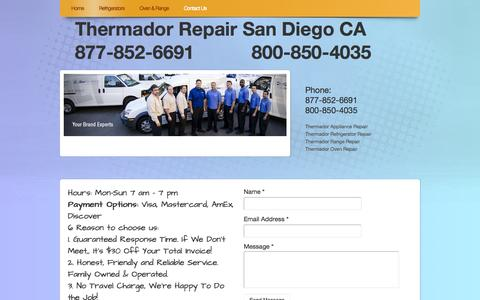Screenshot of Contact Page webs.com - Thermador Repair San Diego CA - Contact Us - captured Sept. 13, 2014