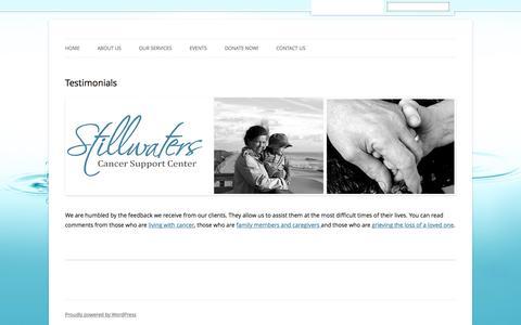 Screenshot of Testimonials Page stillwaterscenter.org - Testimonials - Stillwaters Cancer Support Services - captured Dec. 3, 2016