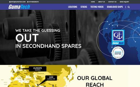 Screenshot of Home Page gumatech.com - GumaTech Marine Services - Stockists of Ships' Spares - captured Nov. 4, 2018