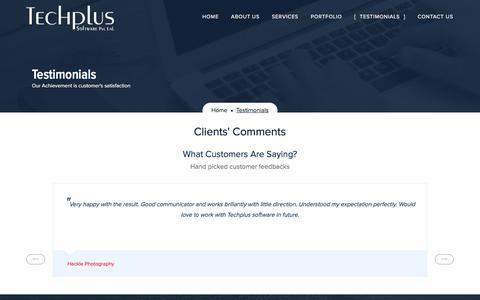 Screenshot of Testimonials Page techplussoftware.com - Testimonials | Techplus Software Pvt. Ltd. - captured June 16, 2017