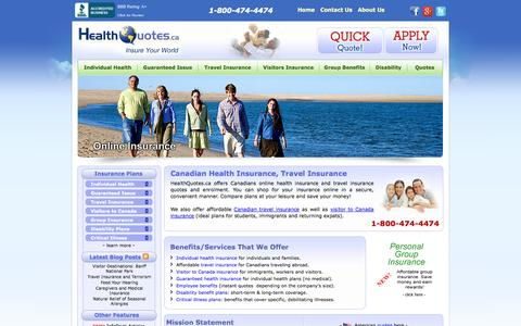 Screenshot of Home Page healthquotes.ca - Canadian Health Insurance, Travel Insurance Quotes | Compare & Save! - captured Sept. 23, 2014