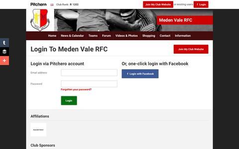 Screenshot of Login Page pitchero.com - Meden Vale RFC - captured June 9, 2016