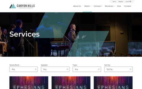 Screenshot of Services Page canyonhillscommunitychurch.com - Sermons Archive - Canyon Hills Community Church - captured Nov. 4, 2018