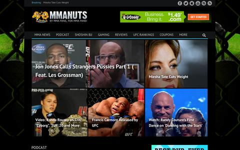 Screenshot of Home Page mmanuts.com - MMA News, Rumors, Videos, Fights | UFC Results, and Rankings | MMANUTS - captured Sept. 19, 2014
