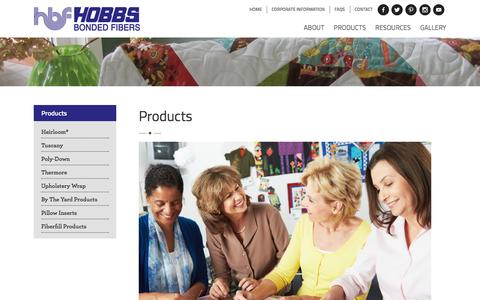 Screenshot of Products Page hobbsbatting.com - Products - Hobbs Quilt Batting Hobbs Quilt Batting - captured March 4, 2016