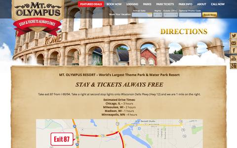 Screenshot of Maps & Directions Page mtolympuspark.com - Map of Mt Olympus Hotel and Resort - Wisconsin Dells Theme Park - captured Oct. 26, 2014