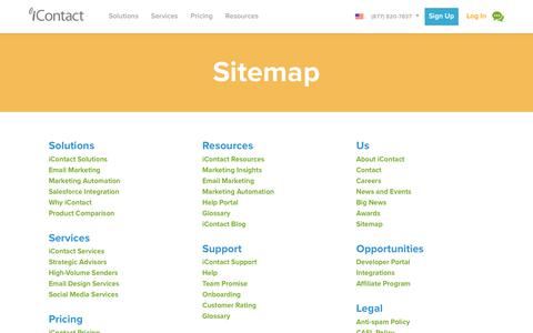 Screenshot of Site Map Page icontact.com - Sitemap   iContact - captured June 16, 2017