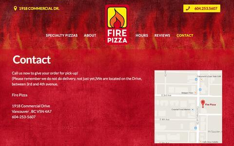 Screenshot of Contact Page firepizza.ca - Contact Đ Fire Pizza - captured Jan. 8, 2016