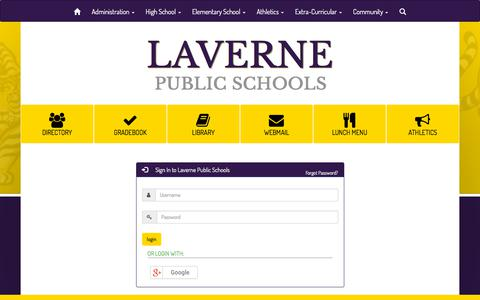 Screenshot of Login Page laverne.k12.ok.us - Laverne Public Schools - Site Administration Login - captured July 2, 2018