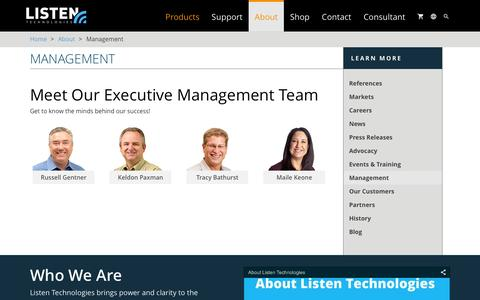 Screenshot of Team Page listentech.com - About / Management | Listentech - captured Jan. 27, 2016
