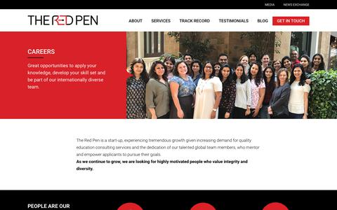 Screenshot of Jobs Page theredpen.in - Careers I Overseas Education Consultants Services for Study in UK, USA, Canada & Abroad  |  The Red Pen - captured Sept. 21, 2018