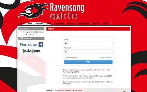 Screenshot of Login Page teamunify.com - Ravensong Aquatic Club : Sign In - captured April 7, 2017