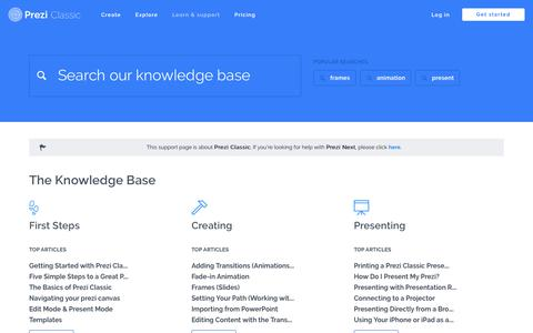Screenshot of Support Page prezi.com - Support Articles and Knowledge Base | Prezi Classic - captured May 8, 2018