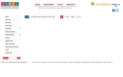 Screenshot of Contact Page usaindiachamber.org - USA India Chamber of commerce - Delivering Affordable Innovation through Global Partnerships - captured Oct. 20, 2017